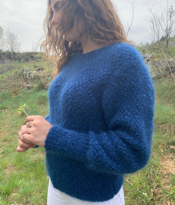 Boutique Mohair Tricot Main Sur mesure Pull Goutte Dos Bleu Hollandais