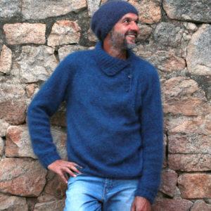 Boutique Mohair Tricot Main Sur mesure Pull Leyga Bleu Pacifique