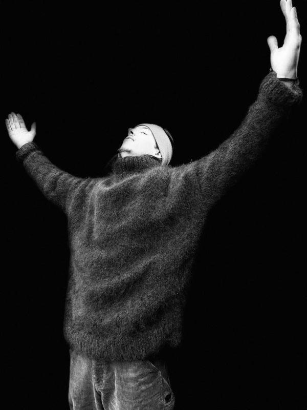 Tricot Main Pur mohair chevreau Sur mesure Pull homme oversize noir